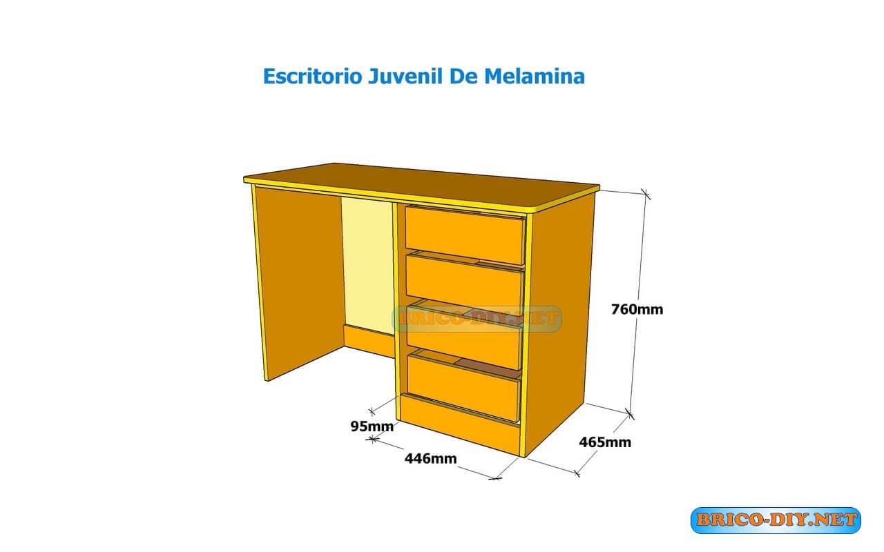 Web del bricolaje dise o diy for Plano escritorio melamina