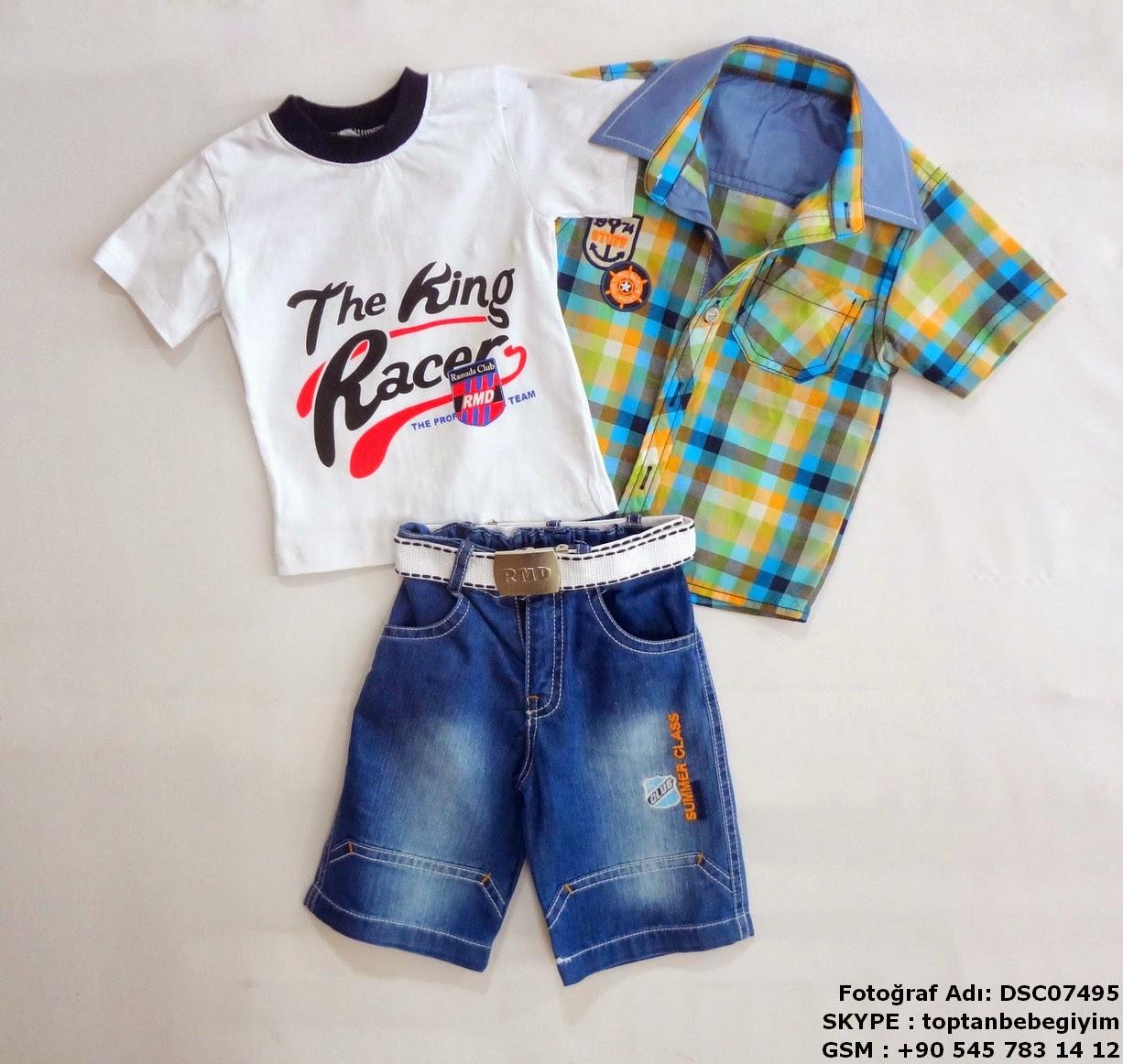 toptan çocuk gömlekli üçlü takımlar tshirt kot set