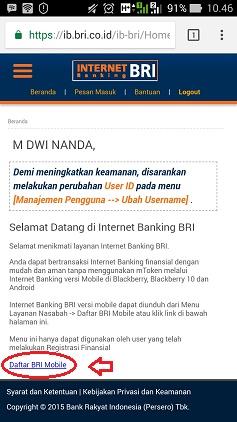 daftar internet banking bri versi mobile
