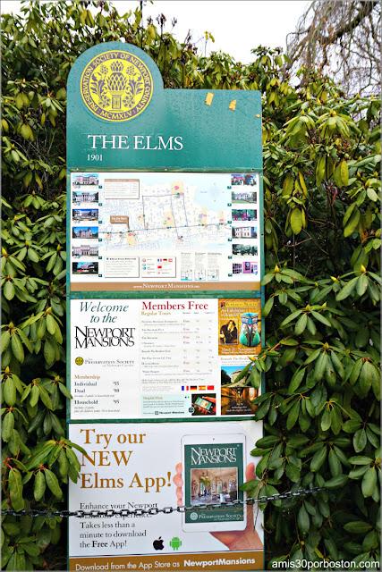 Cartel Informativo de la Mansión The Elms en Newport