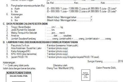 Download Contoh Formulir PPDB Untuk SD