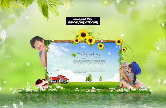 FREE PSD download : Girl and boy design carrying frame image