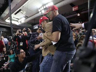 """An agitated Trump fan violently shoved cameraman Rob Skeans yelling """"F*** the media!"""""""
