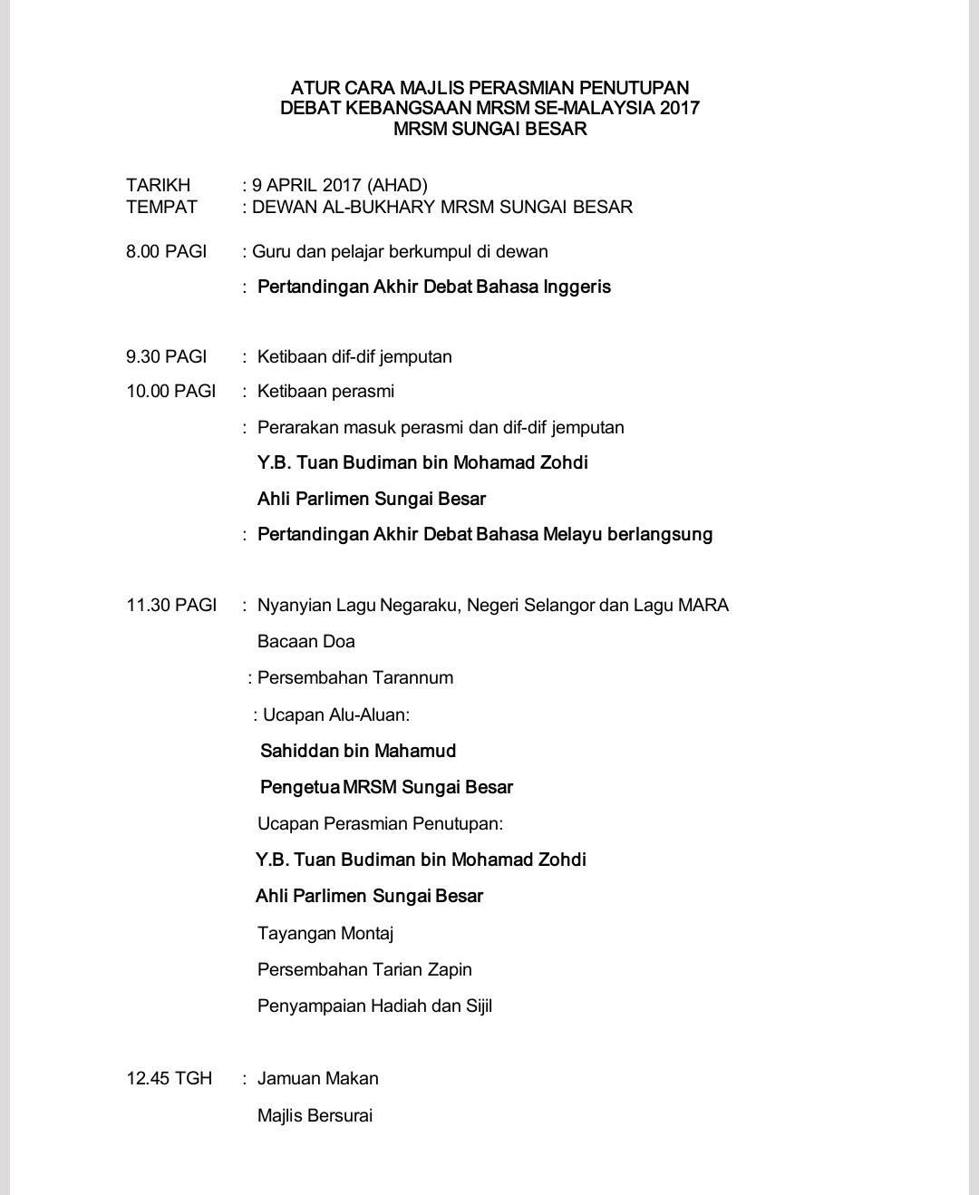 Jadual Pertandingan Dan Aturcara Majlis Penutupan