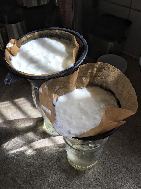 Yogurt making and filtering the whey