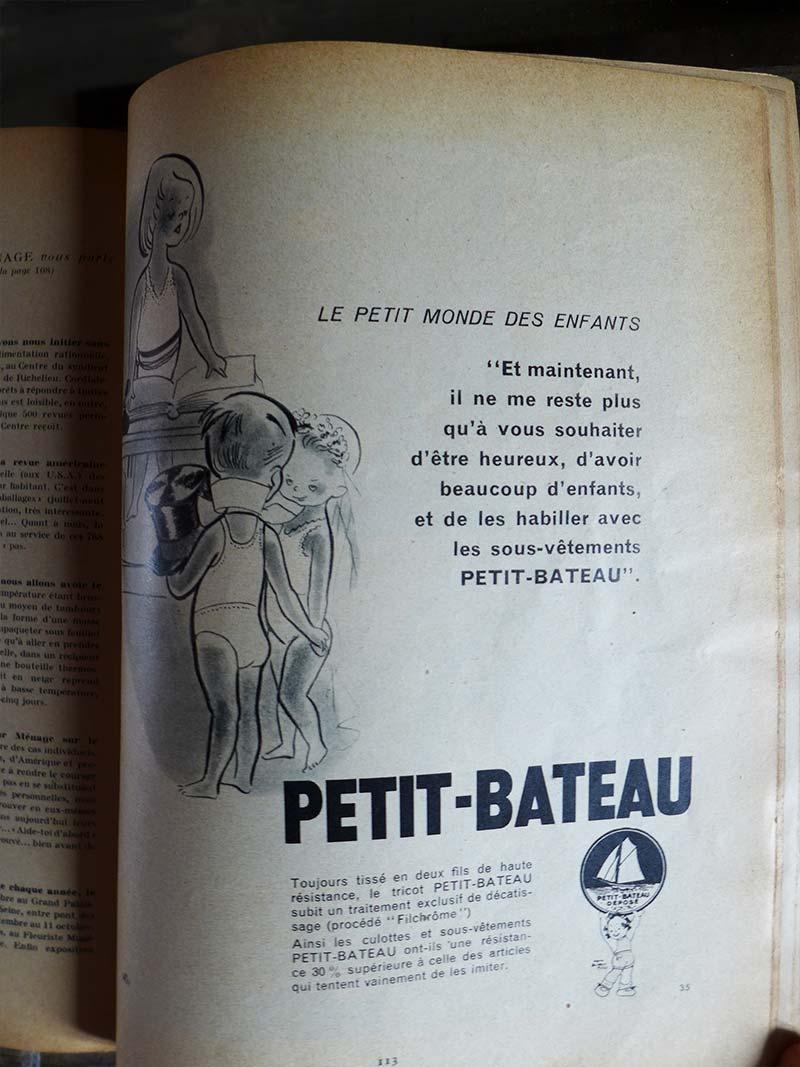Ancienne publicité pour la marque Petit-bateau