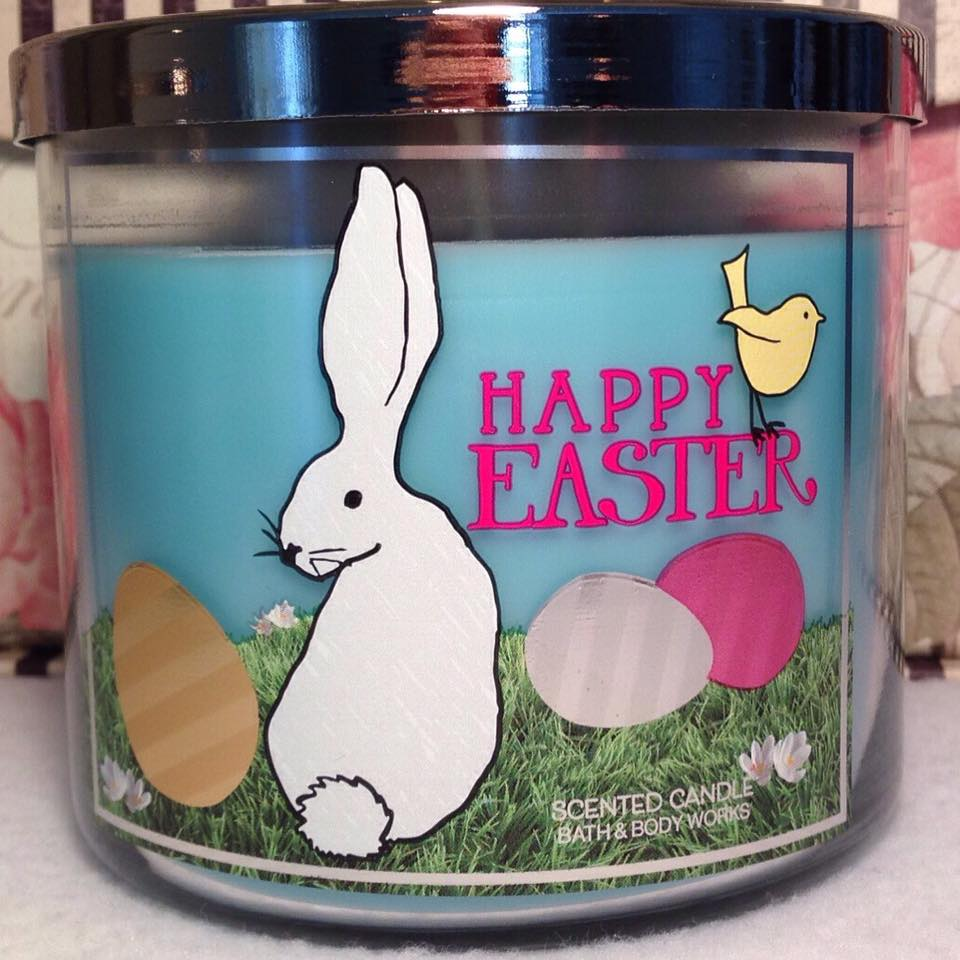 Metal Three Wick Candle Sleeve: Bunnies And Eggs