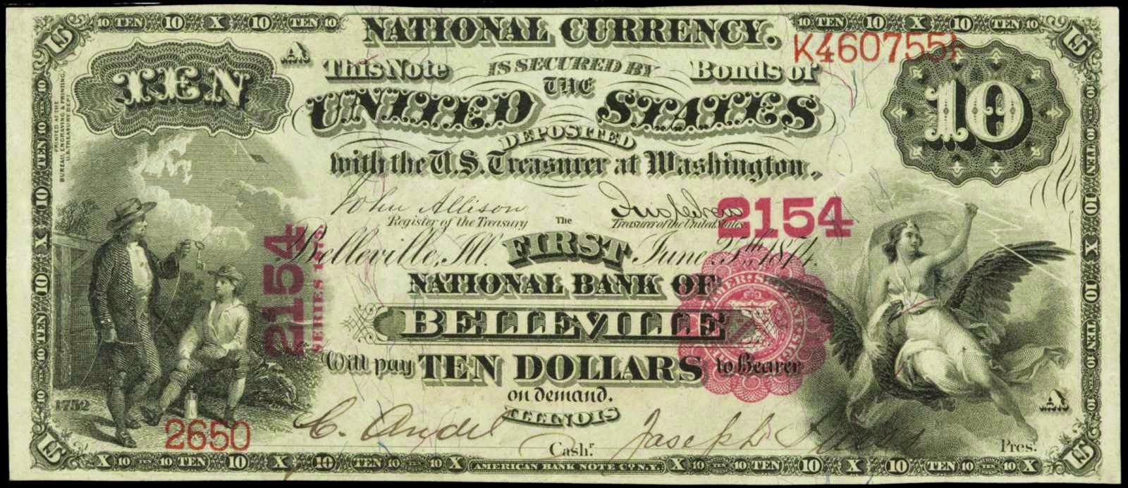 10 Dollar Bill National Currency 1875