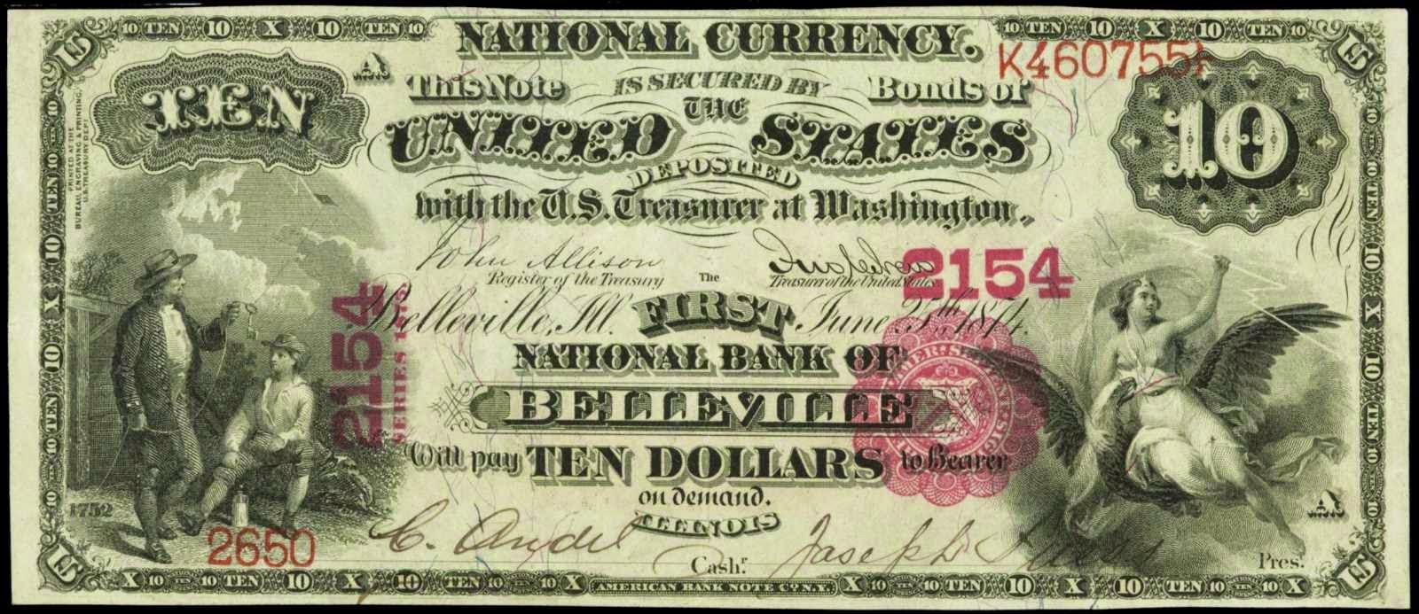10 Dollar Bill National Currency 1875