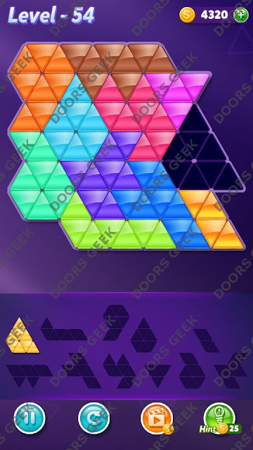 Block! Triangle Puzzle Challenger Level 54 Solution, Cheats, Walkthrough for Android, iPhone, iPad and iPod