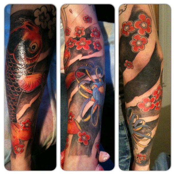 Koi Fish Tattoo Half Sleeve Cover Up