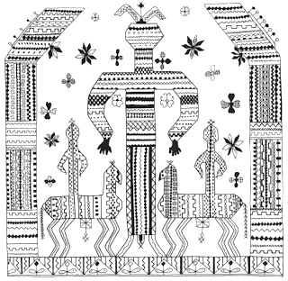 Public domain drawing of embroidery from the Russian North (XIX century). Interpreted by some researchers as an image of the Goddess-Mother Makosh