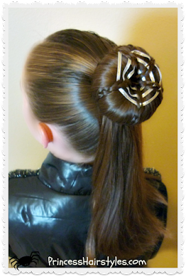 Spider web hairstyle for #Halloween. #Halloweenhair