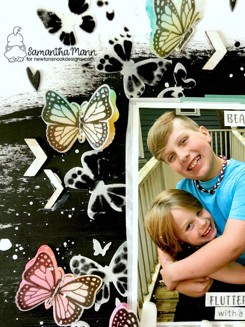 Love You More Layout by Samantha Mann for Newton's Nook Designs, Scrapbook Layout, Gesso, Mixed Media, Machine Stitching, Sewing, Butterflies, Boy Layout, #newtonsnook #scrapbook #scrabooking #layout #scrapbooklayout #boylayout #mixedmedia #butterflies