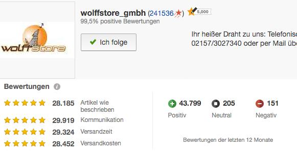 Wolfstore GmbH bei eBay - Abzocke durch wolffstore_gmbh oder pech ...