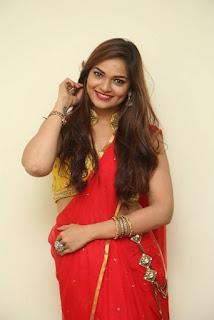 Actress Ashwini Po Shoot Stills In Red Saree With Golden Choli (10).jpg
