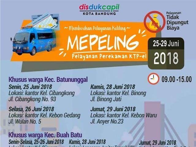 Jadwal Mobil Mepeling Kota Bandung Pelayanan e-KTP
