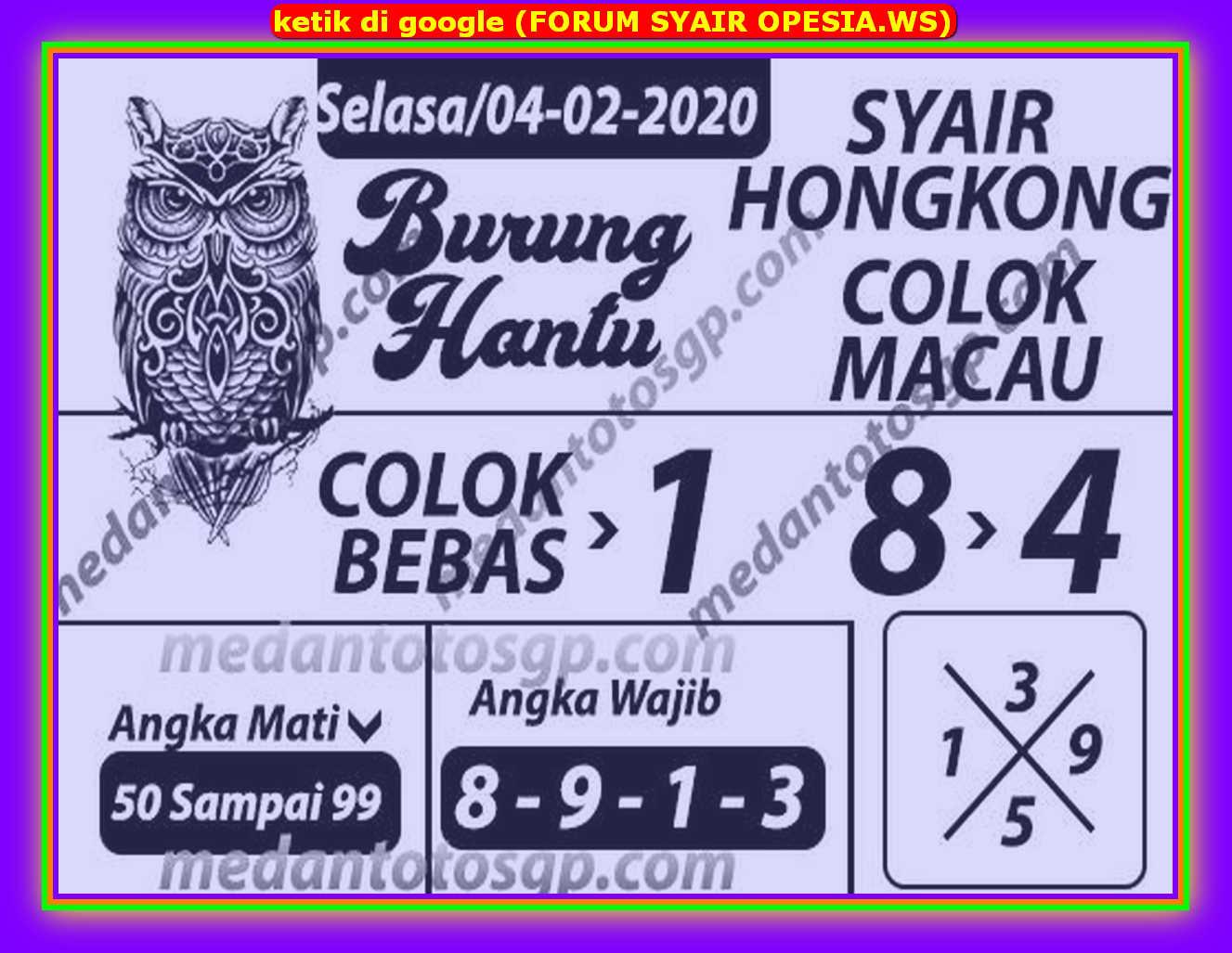 Kode syair Hongkong Selasa 4 Februari 2020 151