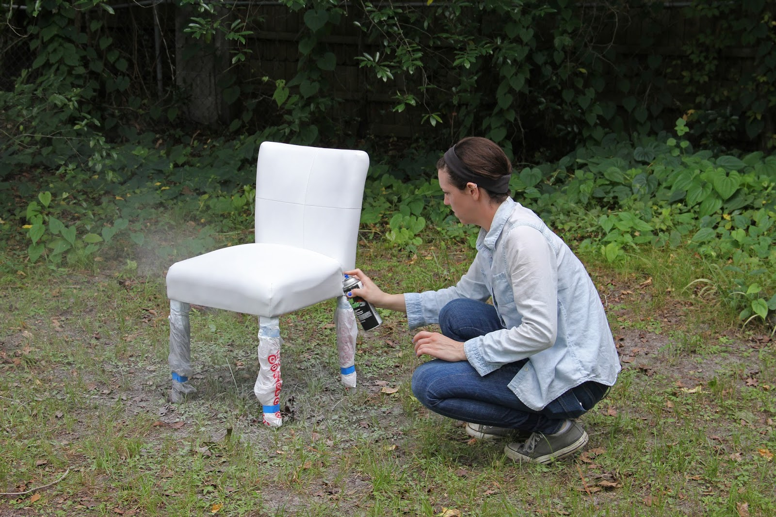 Use vinyl spray paint to transform a chair!