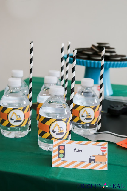 water bottles as Fuel at a construction themed party