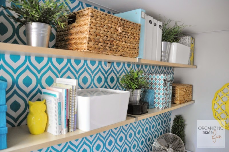 Open shelving in home office :: OrganizingMadeFun.com