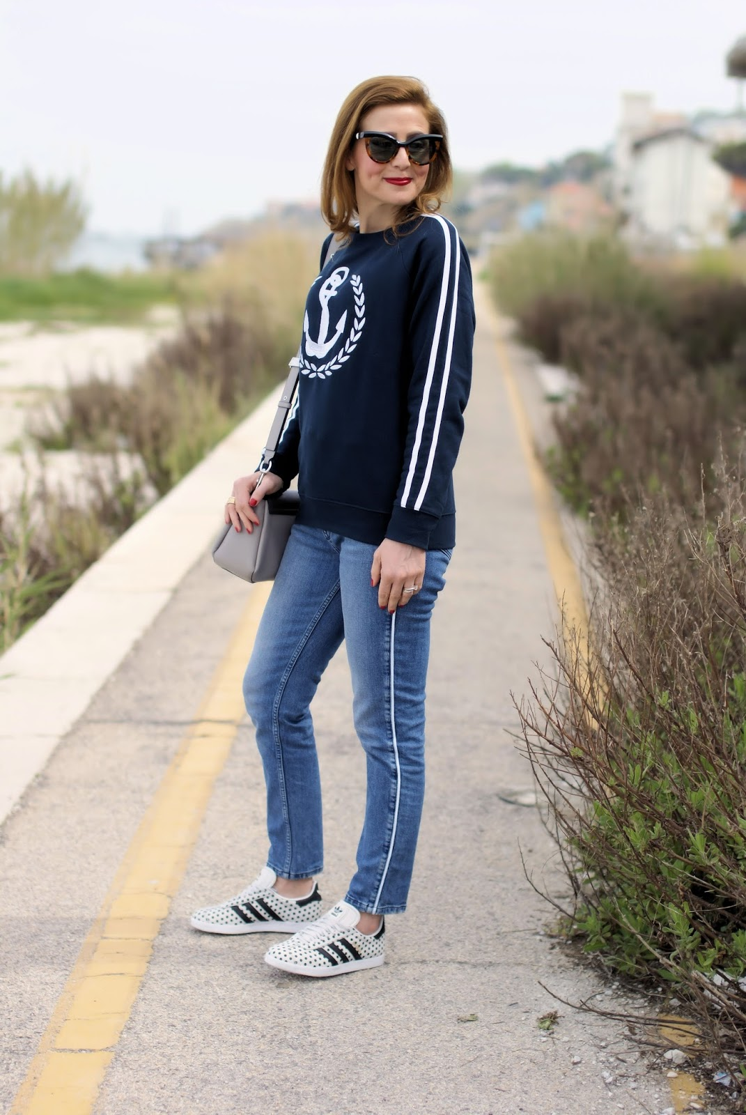 navy inspired sweatshirt and polka dot adidas Gazelle sneakers on Fashion and Cookies fashion blog, fashion blogger style
