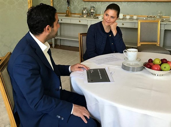 Crown Princess Victoria met with Swedish Minister Ardalan Shekarabi. Princess Victoria wore Morris Stockholm Lady Jacket