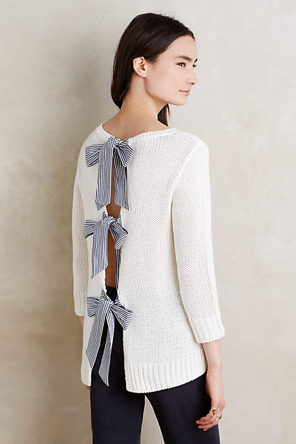 anthropologie bow back pullover paper crown blogger fashion after 40