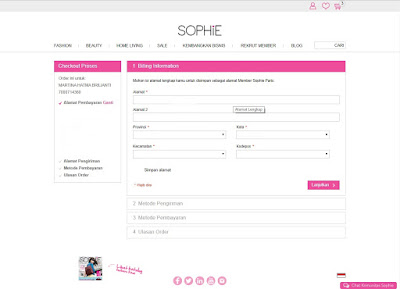 belanja online sophie paris, online order sophie, sophie paris, sophie martin, jendela sophie, dompet digital,