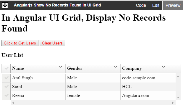 no record found in angularjs ng-grid and ui-grid - Angular