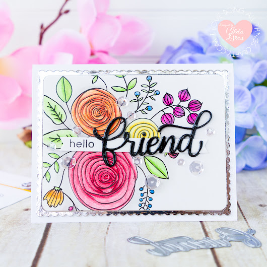 Floral Friendship Card ft. Big Friend Die for Simon Says Stamp Good Vibes Release