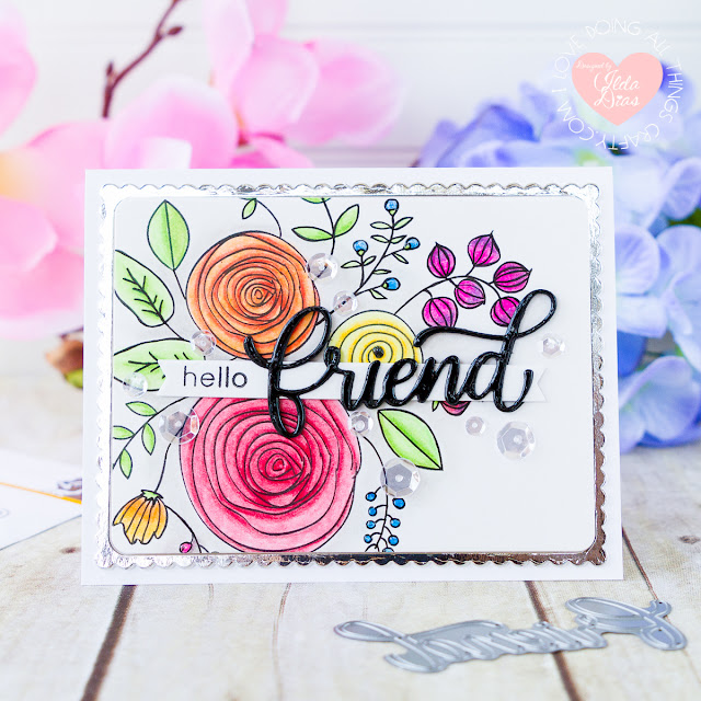 Floral Friendship Card ft. Big Friend Die for Simon Says Stamp Good Vibes Release by ilovedoingallthingscrafty