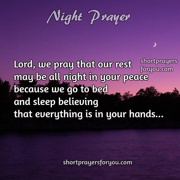 short night prayer, family night prayer, free christian image with prayers by Mery Bracho.