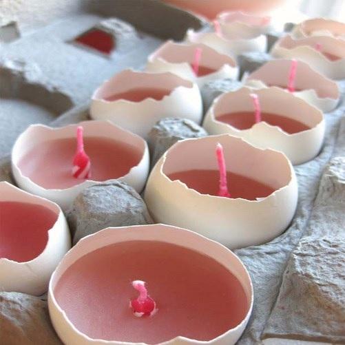 yumurta kabuklarından mum yapımı