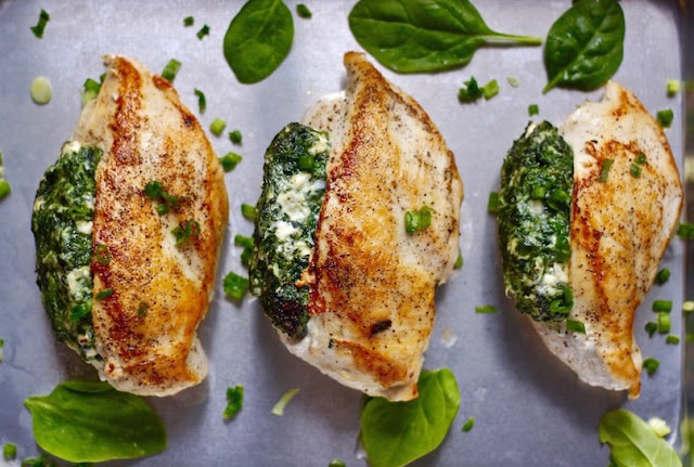 Spinach Stuffed Chicken Breasts #healthyrecipe #deliciousmeal