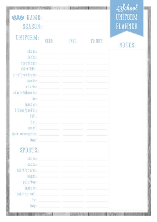 Back to School Free Printable School Uniform Planner