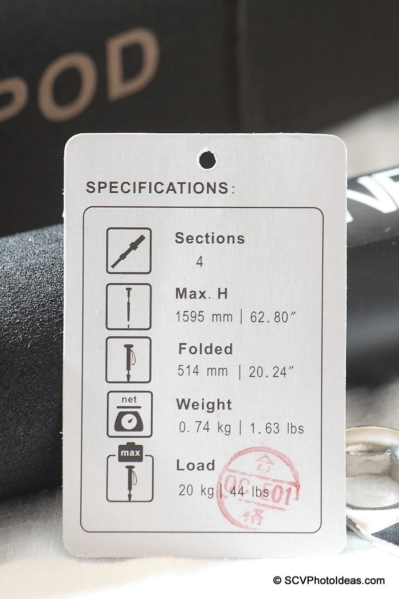 Benro MA-96 EX Monopod specification card