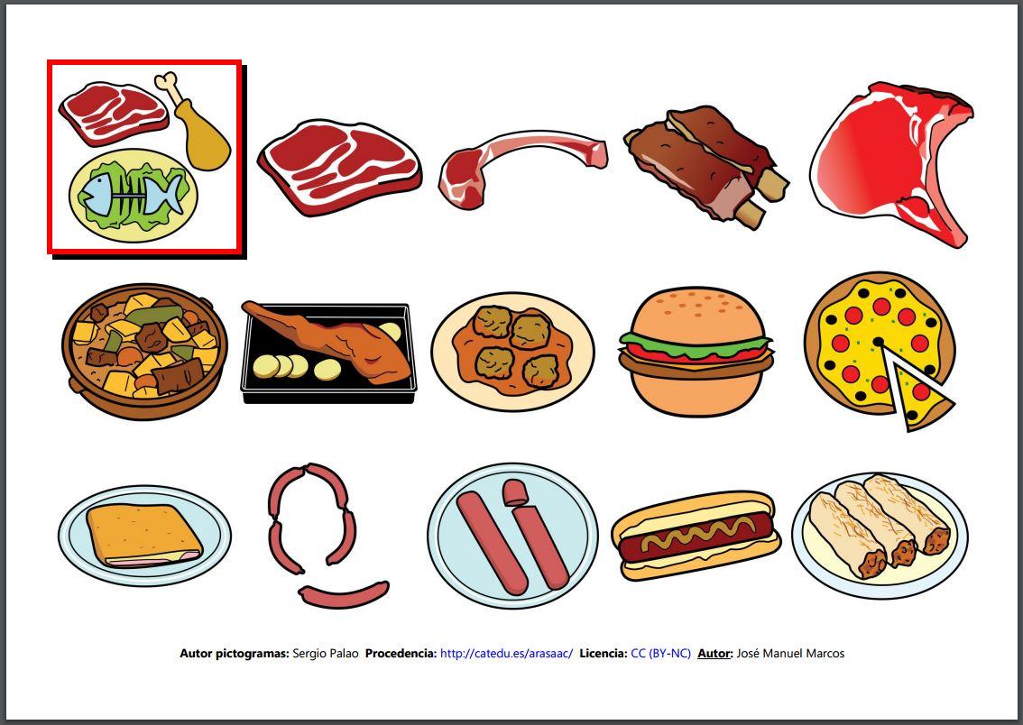 Inform tica para educaci n especial vocabulario comidas y bebidas sin texto con texto - Alimentos en ingles vocabulario ...