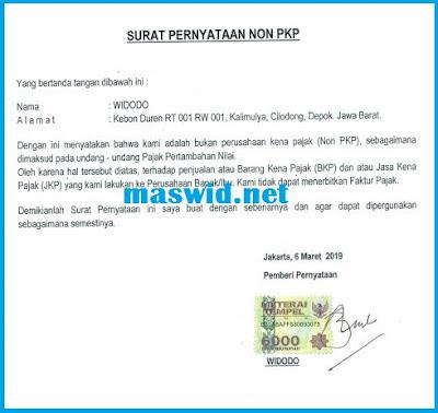 Contoh Surat Pernyataan Non Pkp 2019 Maswidnet