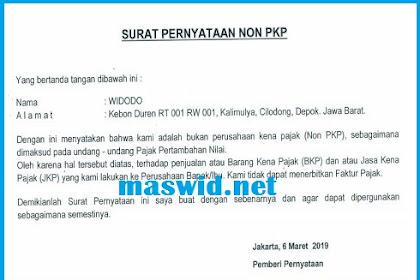 Contoh Surat Pernyataan Non PKP 2019