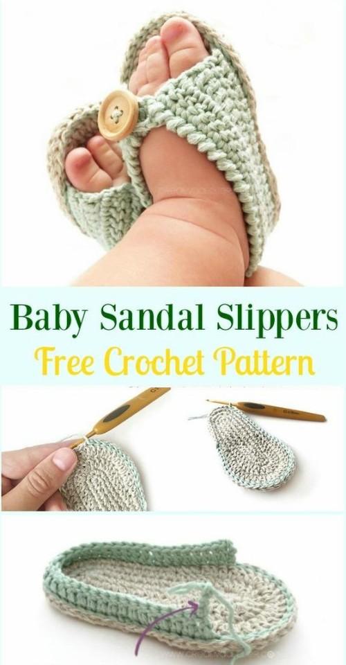Crochet Baby Sandal Slippers - Free Pattern