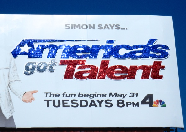 Glittering Americas Got Talent logo billboard