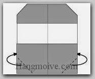 Bước 6: Gấp hai hóc giấy về mặt đằng sau.