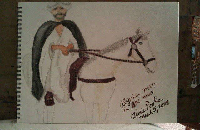 """Algerian horse and rider"" sketch by Gloria Poole"