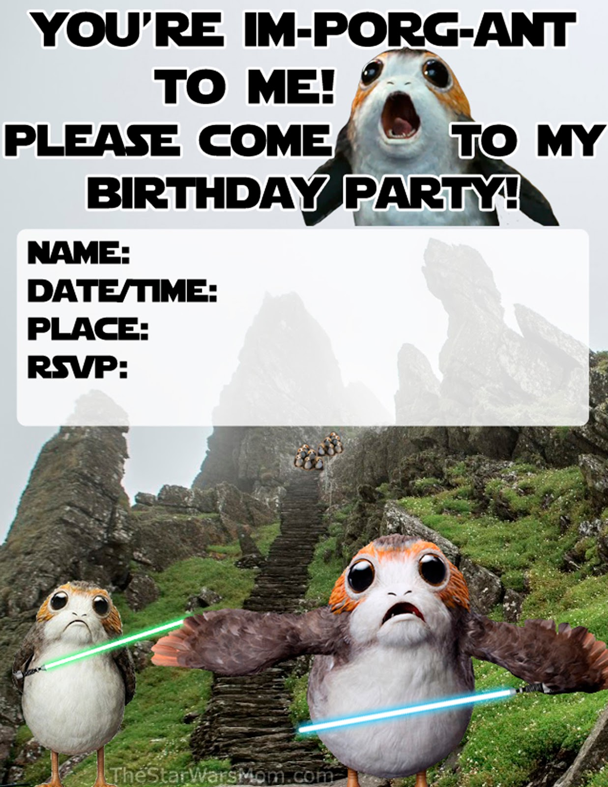 Star Wars Porg Birthday Party Invitation