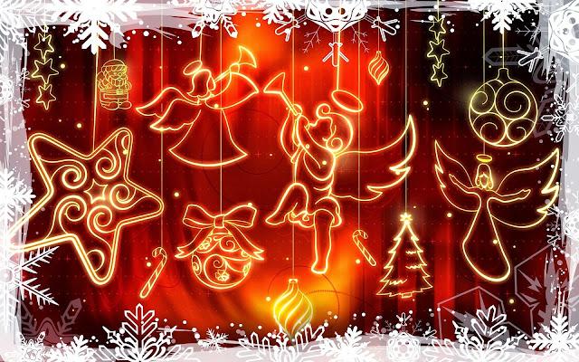 Afbeelding met raam met kerst engelen