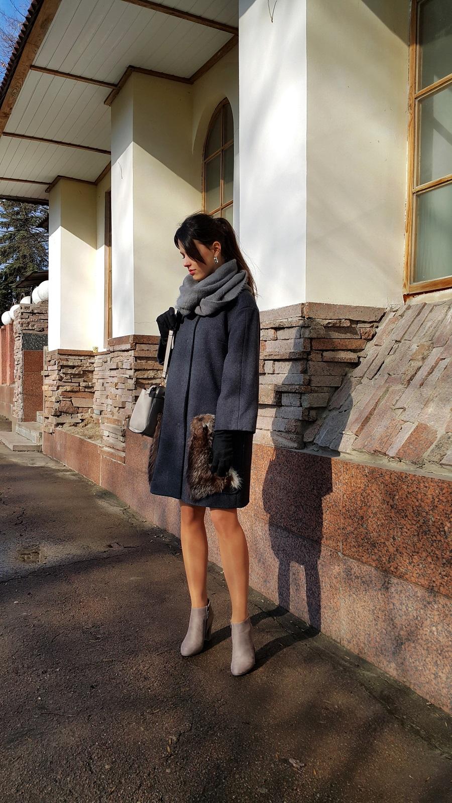 модное пальто, серое пальто