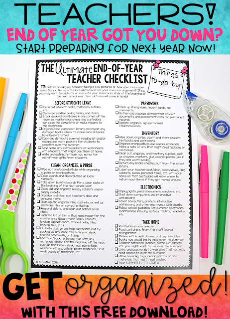FREE End of Year Teacher Checklist