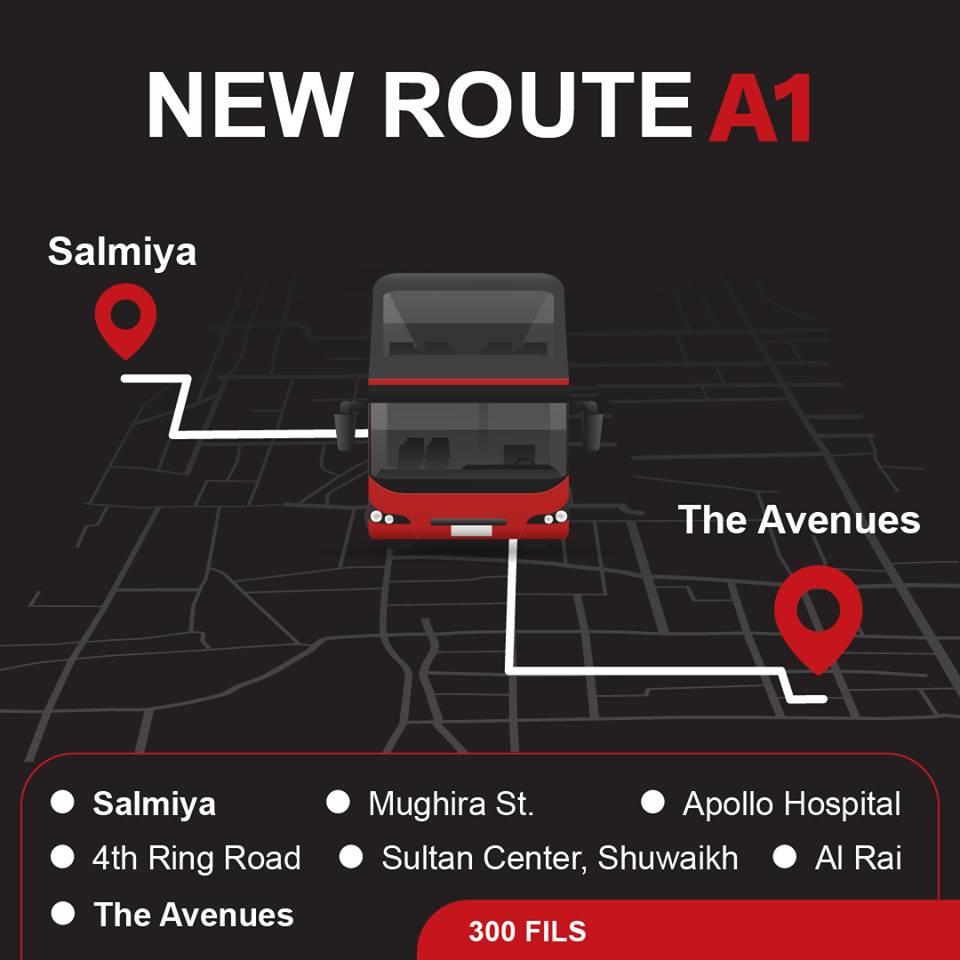 A1 Kuwait Bus Route A1 Salmiya to Avenues KuwaitBus 1