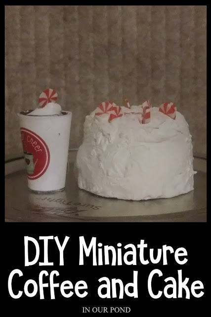 Barbie-sized Peppermint Latte and Whipped Cream Cake // DIY Mini Christmas Decorations for Dolls and Elves // In Our Pond // 1:6 scale // Barbie dollhouse // Doll Crafting